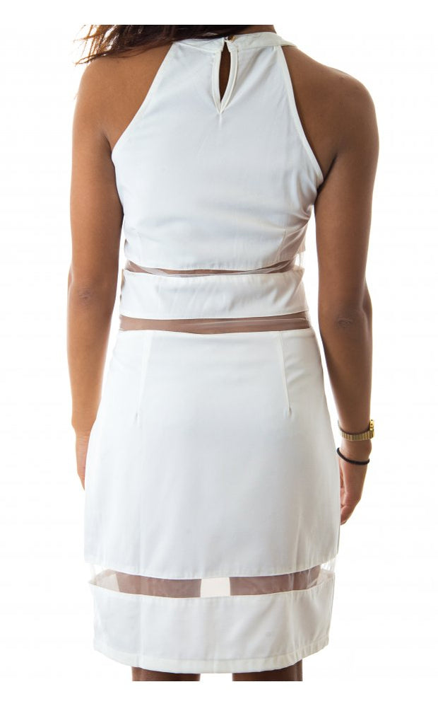 LUXE Mesh Panel Bodycon Dress In White