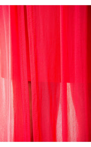 Coral Chiffon Draped Maxi Dress