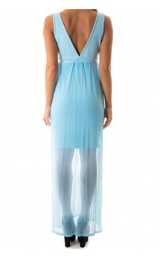 Blue Chiffon Draped Maxi Dress