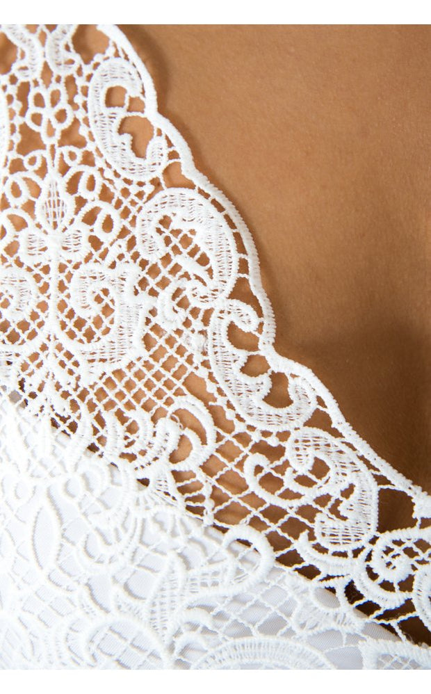 Lace Your Bets Bralet in White