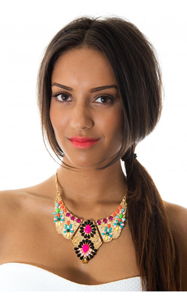Gold Embellished Statement Necklace