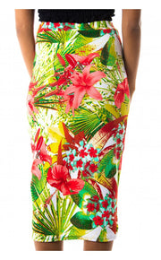 Tropical Bodycon Skirt In Red