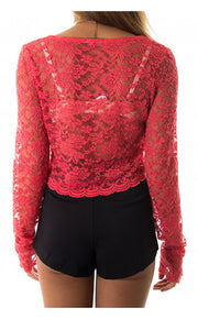 Aliana Long Sleeve Lace Crop Top in Red
