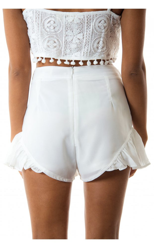 Santorini Frill Chiffon Shorts In White