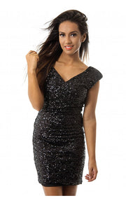 LUXE Black Bow Back Sequin Bodycon Dress
