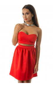 Red Strapless Skater Dress