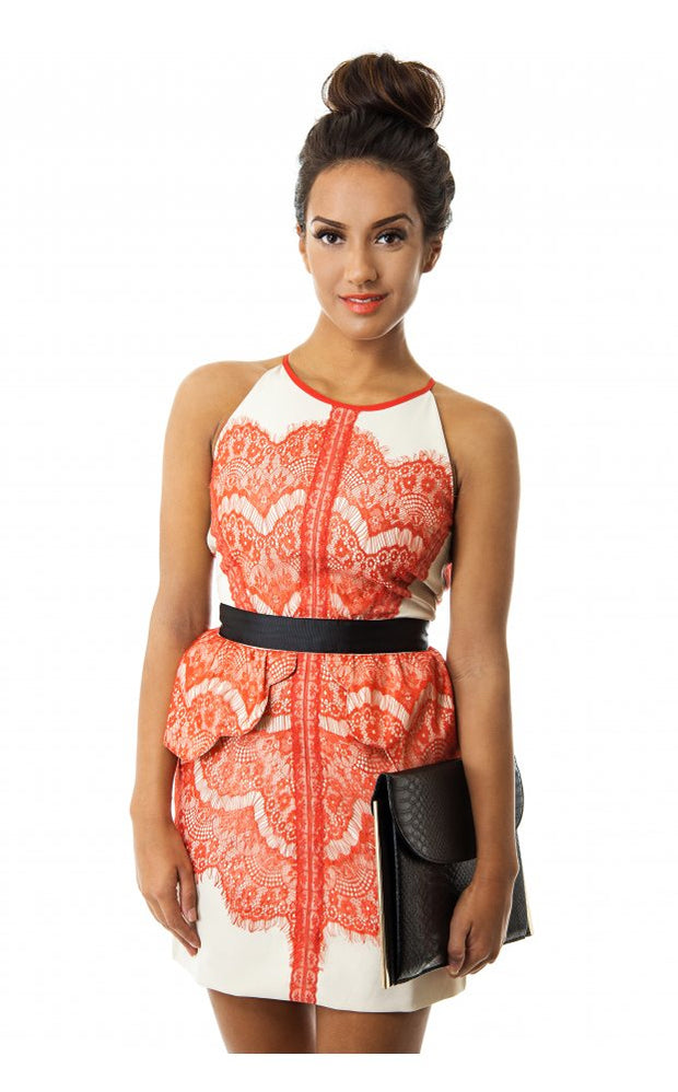 LUXE Lace Skater Dress In Orange