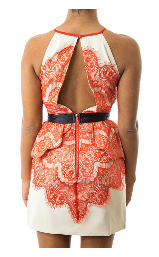 Orange Lace Shift Dress