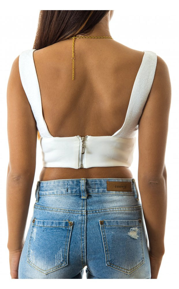 Phoebe White Bralet Top