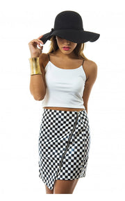 Black Dogtooth Vinyl Skirt