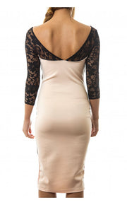 Nude & Black Lace Trim Bodycon Dress
