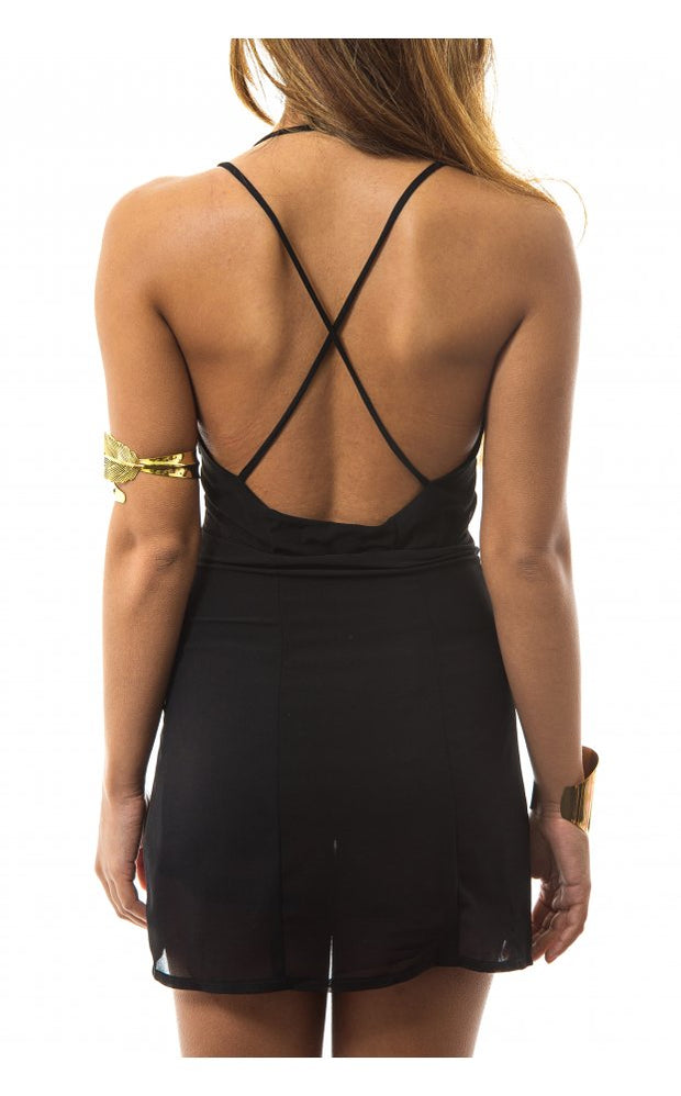 Petite Black Cross Back Mini Dress