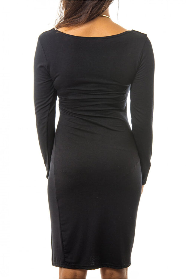 Orla Side Split Bodycon Dress In Black