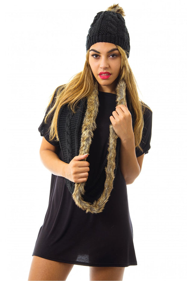 Faux Fur Wool Scarf In Black