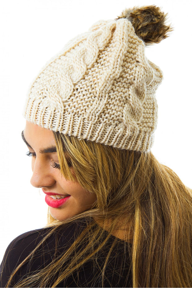 Faux Fur Pom Pom Hat In Beige