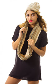 Faux Fur Wool Scarf In Beige