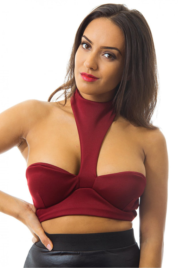 Riana Halterneck Bralet Top In Burgundy