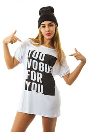 Vogue Slogan Tee In White