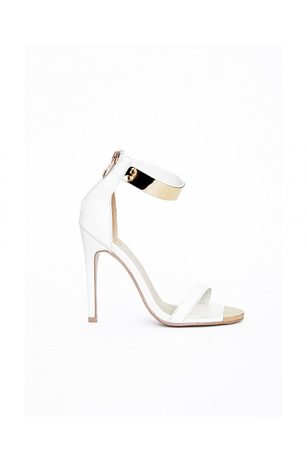 Lexi Gold Plated White Ankle Strap Heeled Sandals