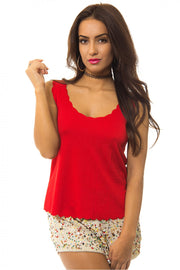 Red Scallop Vest Top
