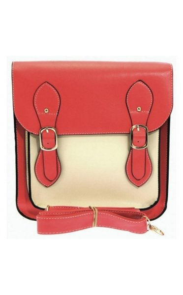 Double Buckle Satchel Bag In Watermelon
