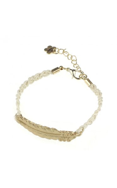 Gold Feather Rope Bracelet