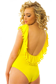 Coco Yellow Backless Pop Pom Bodysuit