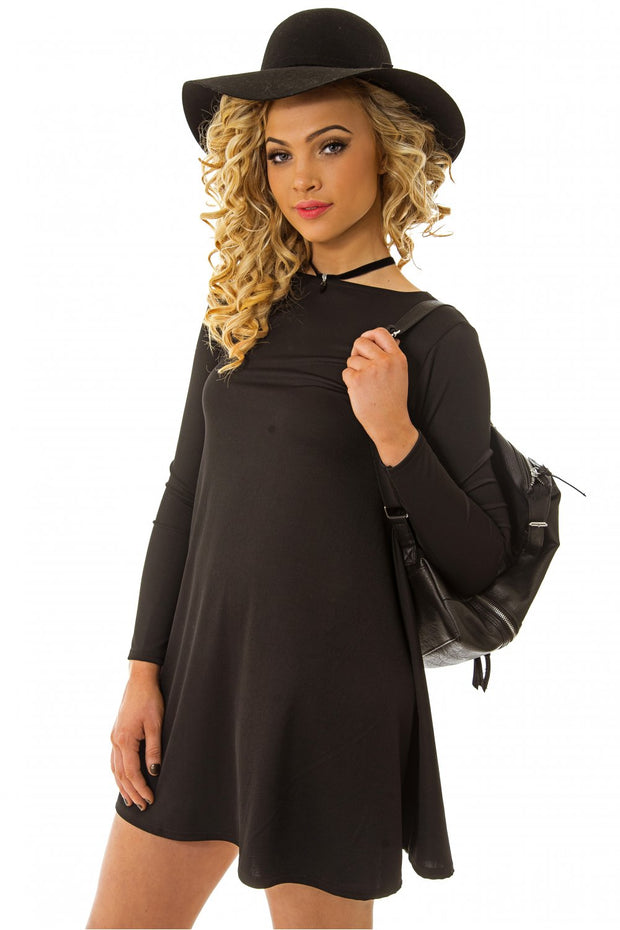 Bella Black Bow Back Skater Dress