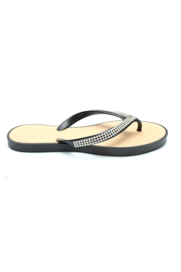 Sumi Black Diamante Flip Flops