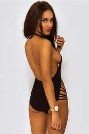 Rio Halter Neck Strappy Backless Black Monokini