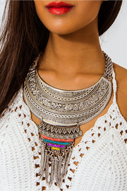Romelia Silver Bohemian Tribal Feather Choker