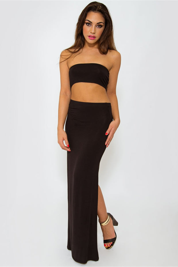 Black Slinky Bandeau Crop Top