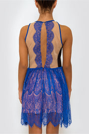LUXE Blue Lace Sleeveless Dress
