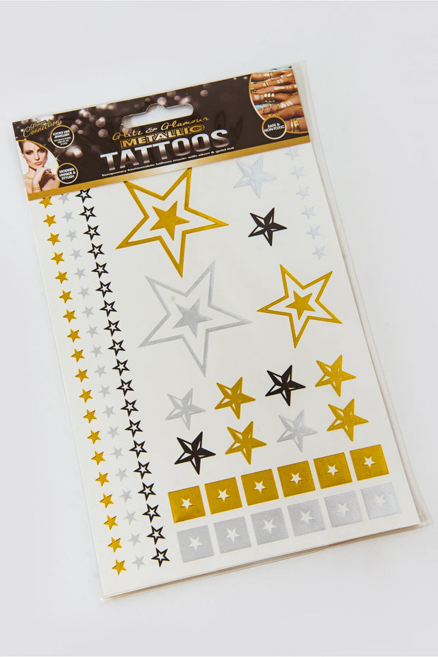 Metallic Star Temporary Tattoo Pack