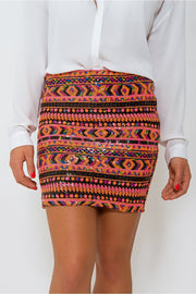 Jada Orange Sequin Mini Skirt