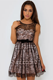 LUXE Lace Overlay Skater Dress In Black
