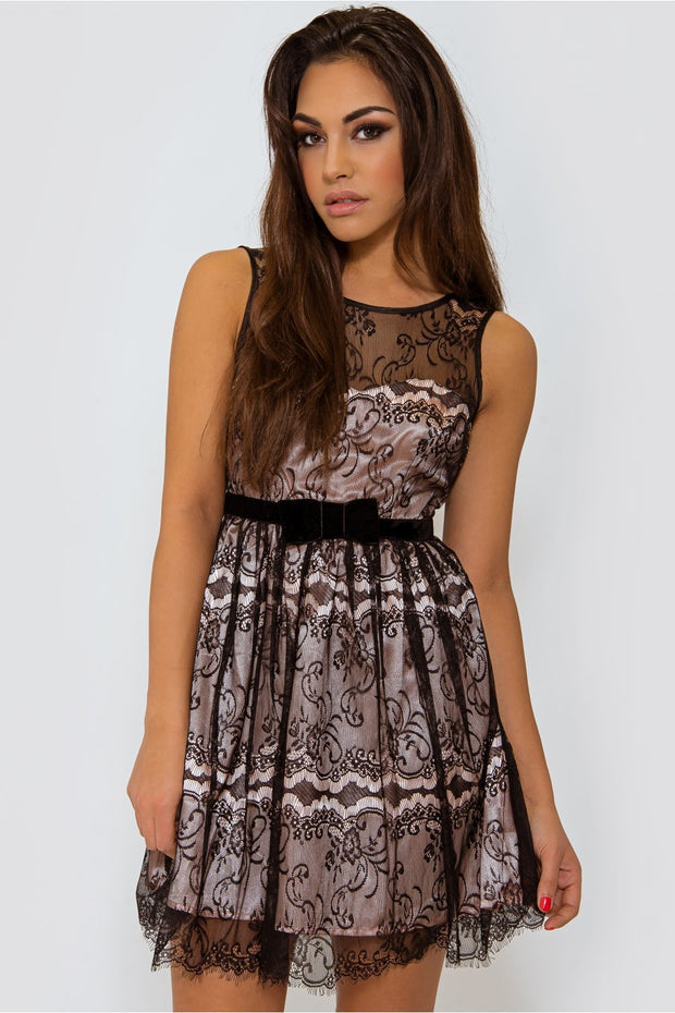 Lace Overlay Black Skater Dress