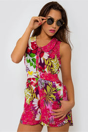 Zante Pink Tropical Floral Playsuit