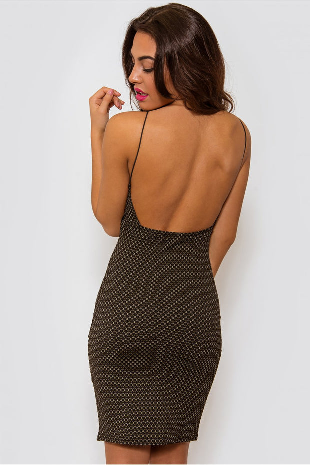 Angelica Black Backless Bodycon Dress