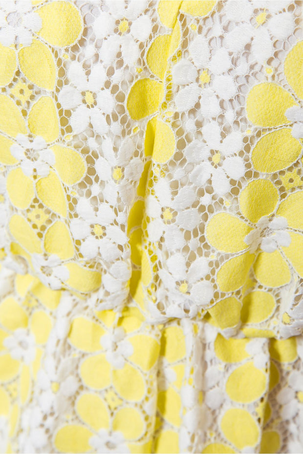 Yellow Lace Backless Daisy Print Playsuit