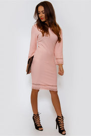 Charise Peach Laser Cut Bodycon Midi Dress