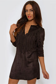 Black Suede Tassel Mini Dress