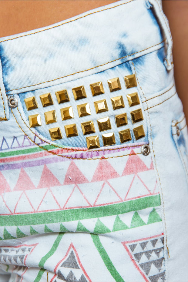 High Waisted Aztec Denim Shorts