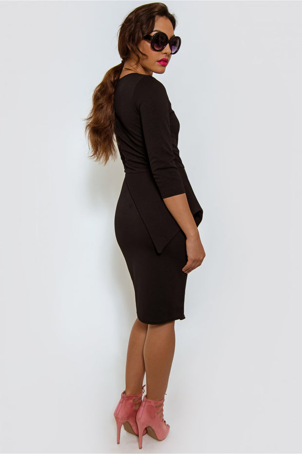 Ophelia Black Bodycon Midi Dress