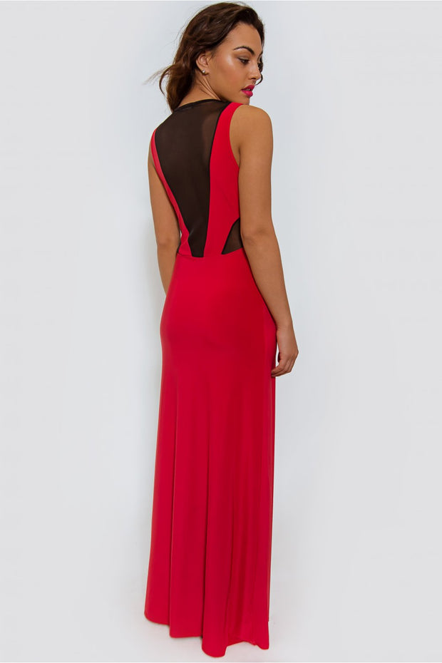 Red Mesh Front Maxi Dress