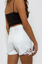 White Denim Crochet Shorts