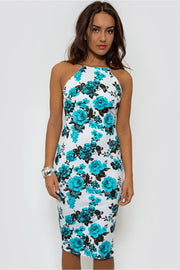 Blue Floral Backless Bodycon Midi Dress