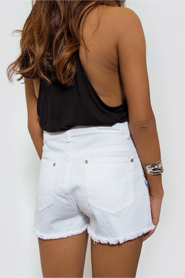 White Aztec Denim Shorts