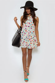 Katie Floral Print Playsuit In Cream
