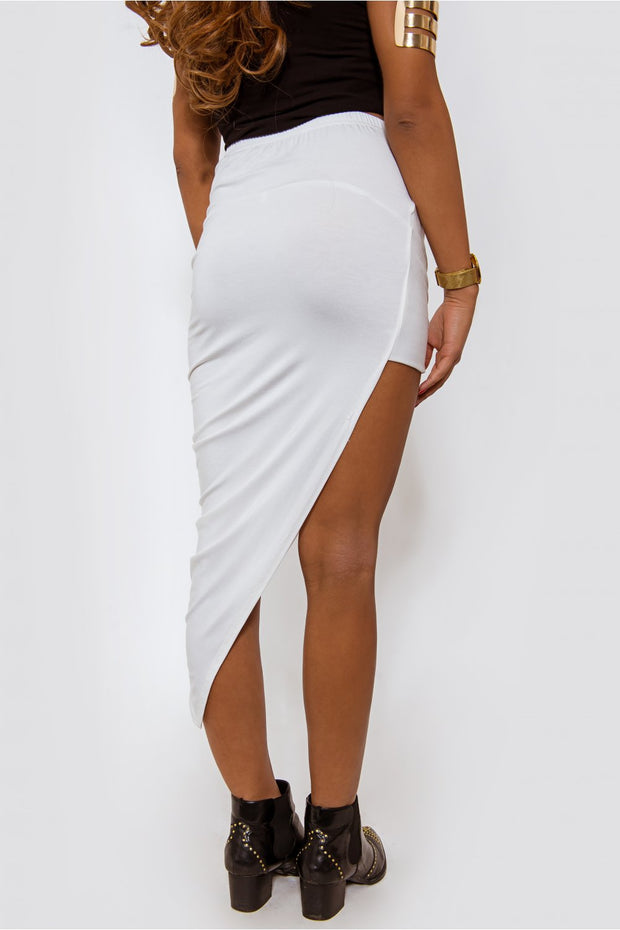 Asymmetrical White Skirt
